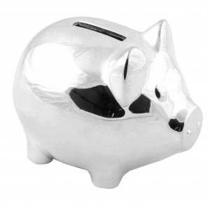 Bambino Silver Plated Piggy Money Box