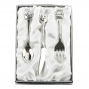 Noah's Ark Knife, Fork & Spoon Set Silverplated